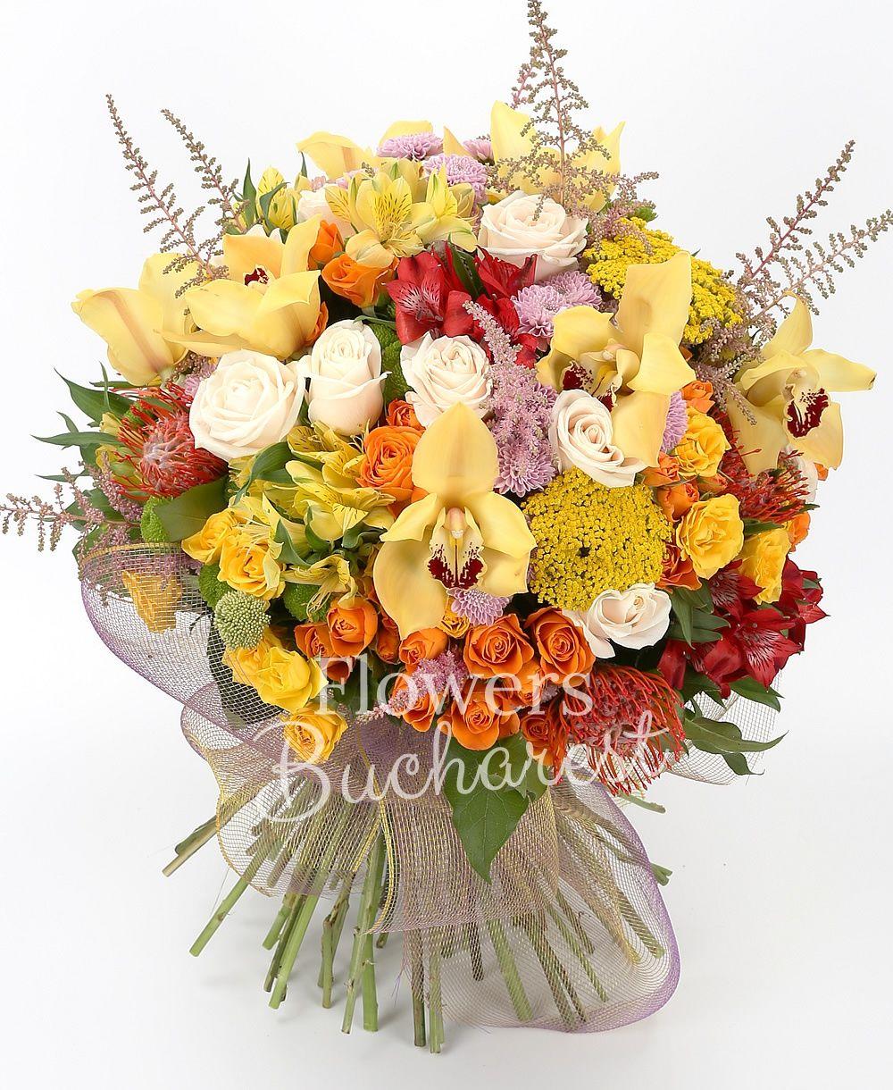 9 cream roses, 5 orange miniroses, 5 yellow miniroses, 5 yellow alstroemeria, 5 red alstroemeria, 5 leucospermum, 3 pink santini, 3 green santini, 7 pink astilbe, 5 yellow rice flower, yellow cymbidium