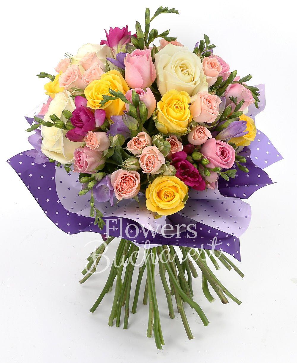 5 yellow roses, 4 white roses, 5 pink roses, 5 pink miniroses, 5 cyclam freesias, 5 mauve freesias