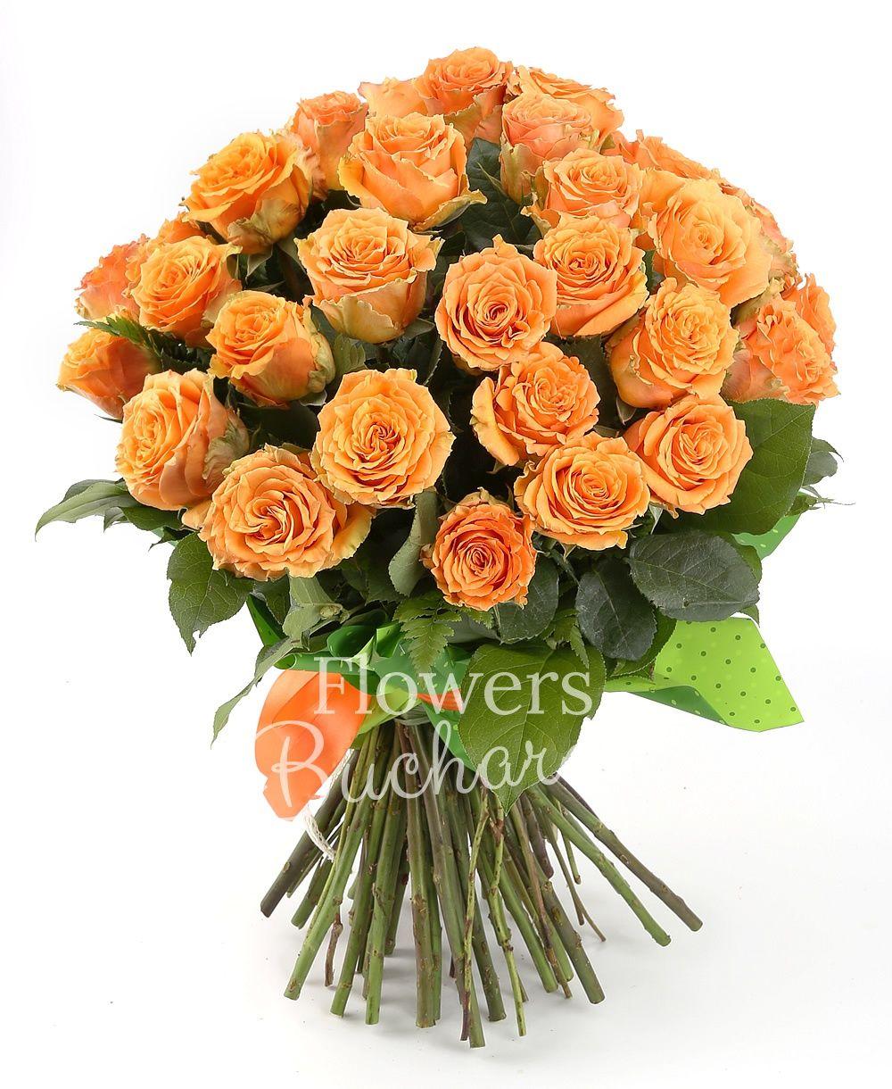 31 orange roses, greenery