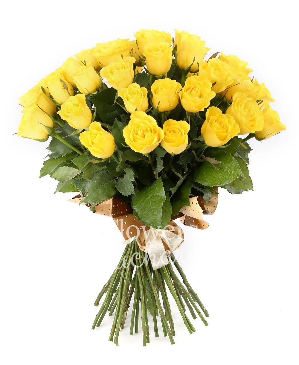 29 yellow roses, greenery