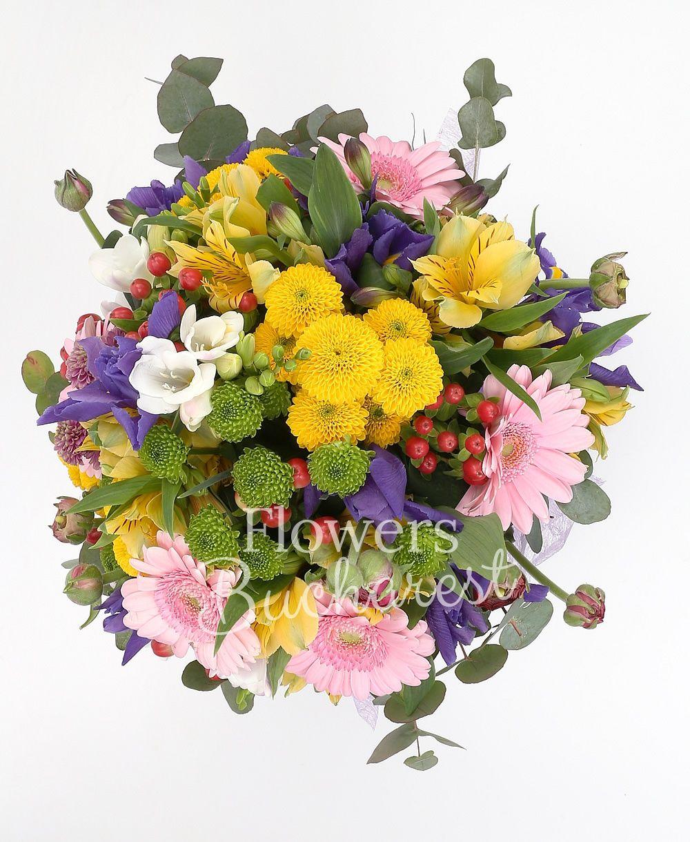 10 purple iris, 7 pink gerbera, 3 green santini, 2 pink santini, 3 yellow santini, 5 yellow alstroemeria, 5 red hypericum, 5 white freesias, greenery