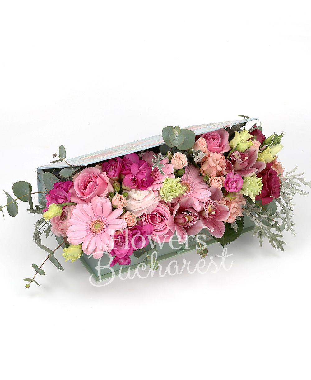 3 pink roses, 2 cymbidium roses, 3 pink gerberas, 3 pink miniroses, 3 pink lisianthus, 5 cyclam freesias, 3 pink ranunculus, pink cymbidium, greenery