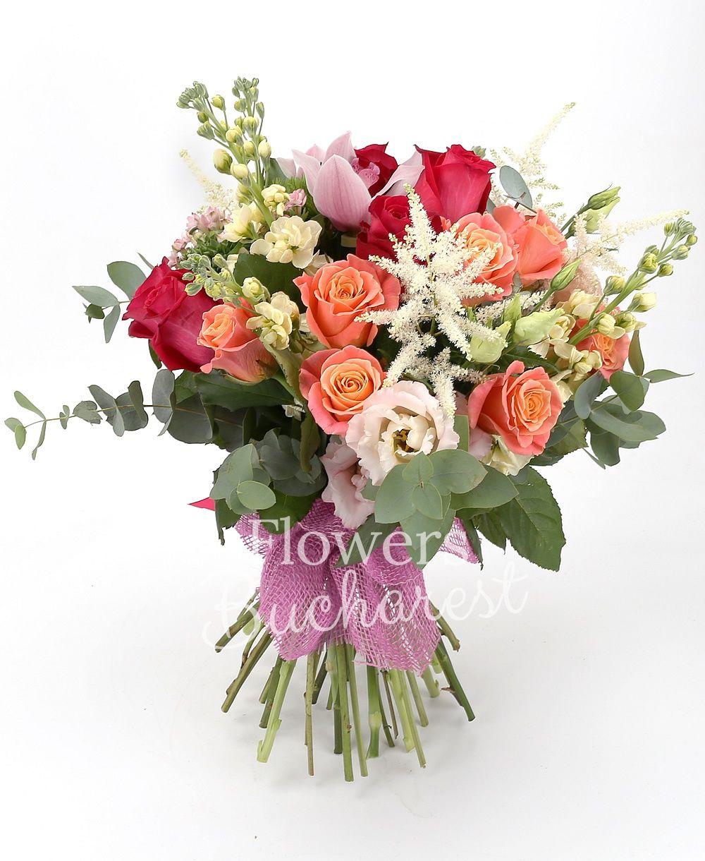 9 miss piggy roses, 5 cyclam roses, 5 pink bouvardia, 5 cream matthiola, 3 pink lisianthus, 5 white astilbe, 5 green carnations, pink cymbidium, greenery