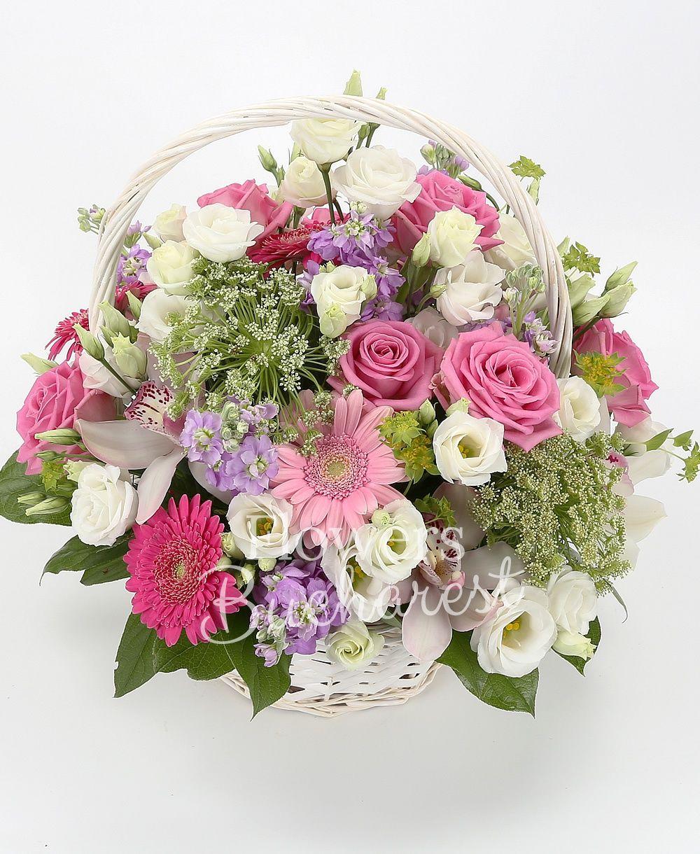 10 mauve matthiola, 10 pink roses, 5 gerbera, 5 lisianthus, white cymbidium, greenery