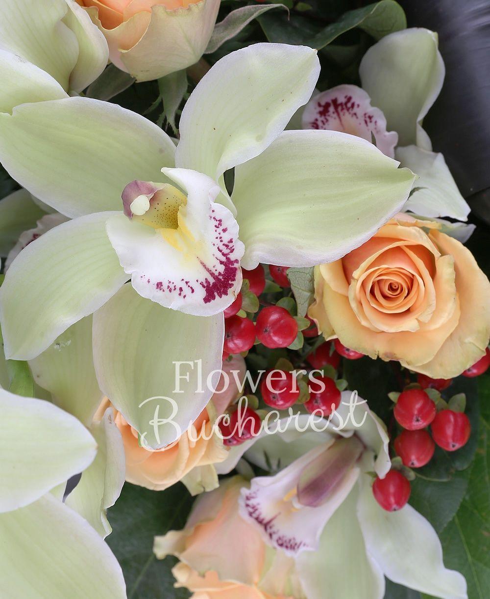 5 cream roses, green cymbidium, 3 red hypericum, greenery