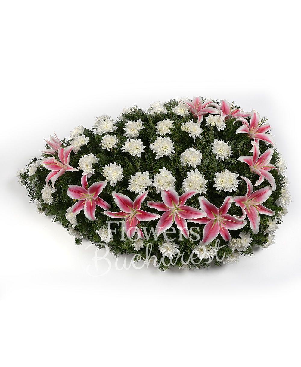 white chrysanthemums, pink lilies