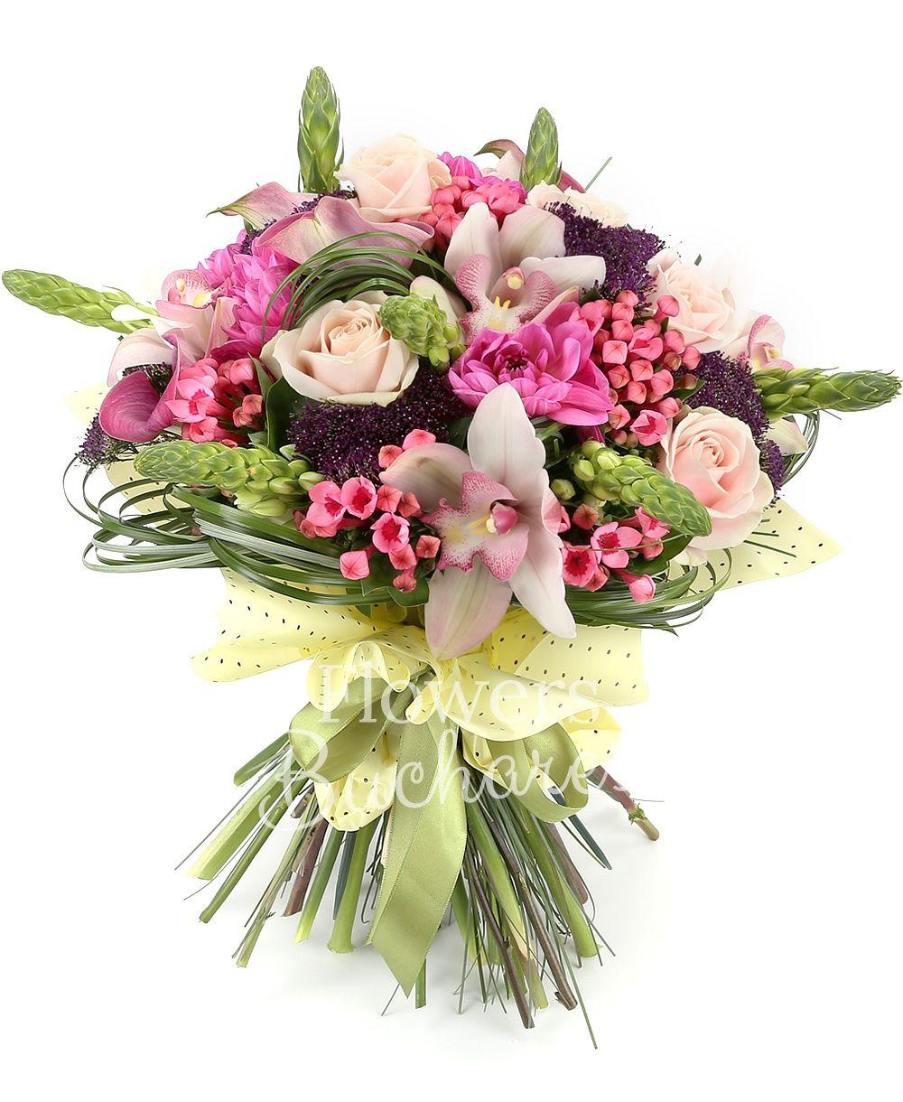 7 ornithogalum, 5 cream roses, 5 pink bouvardia, 5 purple trachelium, 5 pink cala, 5 pink dahlias, white cymbidium, greenery