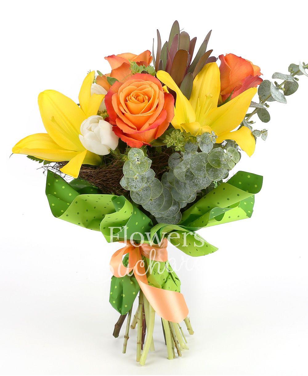 1 yellow lily, 3 orange roses, 2 leucadendron. 3 green hypericum, 5 white tulips, greenery