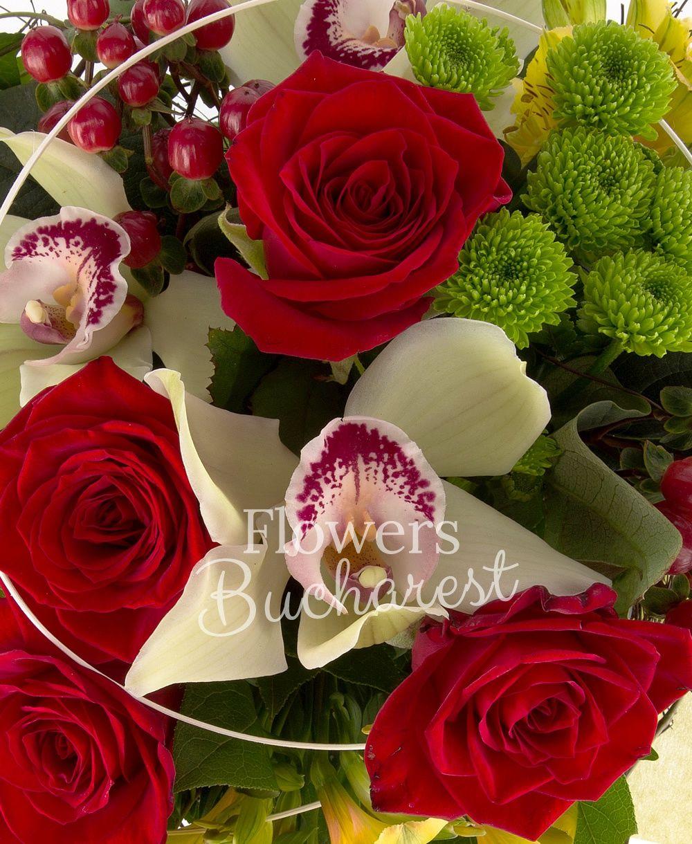 5 red roses, 5 yellow alstroemeria, 3 red hypericum, 2 green santini, green cymbidium, greenery