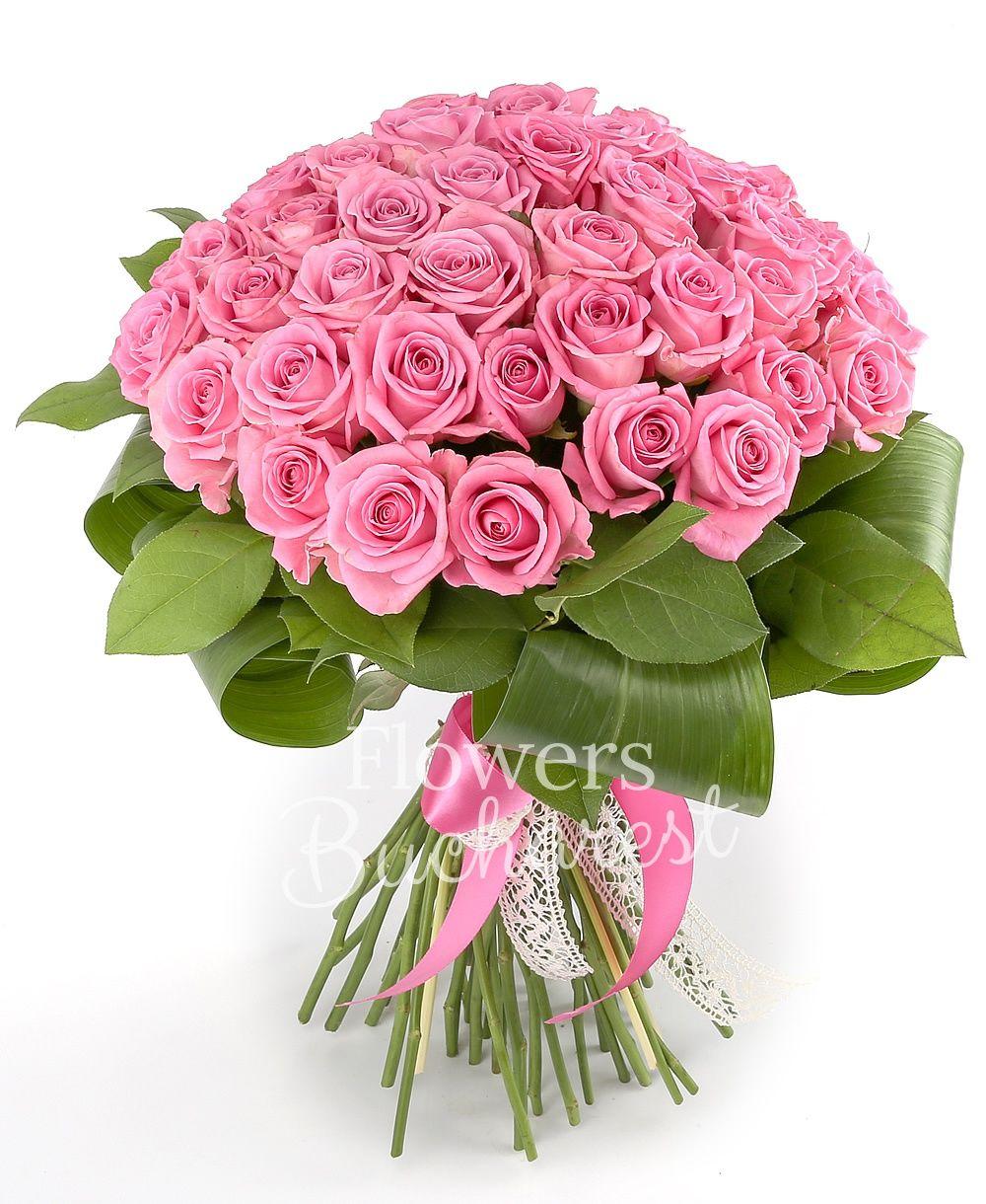 41 pink roses, greenery