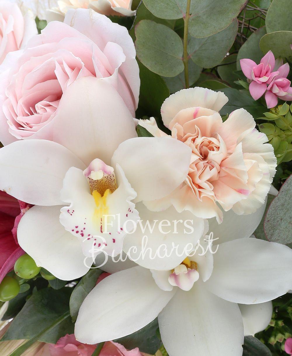 1 pink lily, 5 cream carnations, 5 green hypericum, 3 pink bouvardia, 3 pink roses, 3 pink lisianthus, cymbidium, bupleurum, greenery