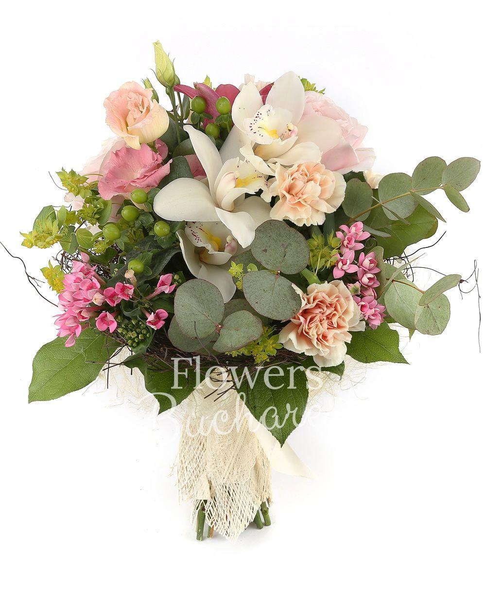 3  pink roses, 2 pink lisianthus, 3 cream carnations, 1 pink lily, 3 pink bouvardia, 3 green hypericum, white cymbidium, green cymbidium, bupleurum, greenery