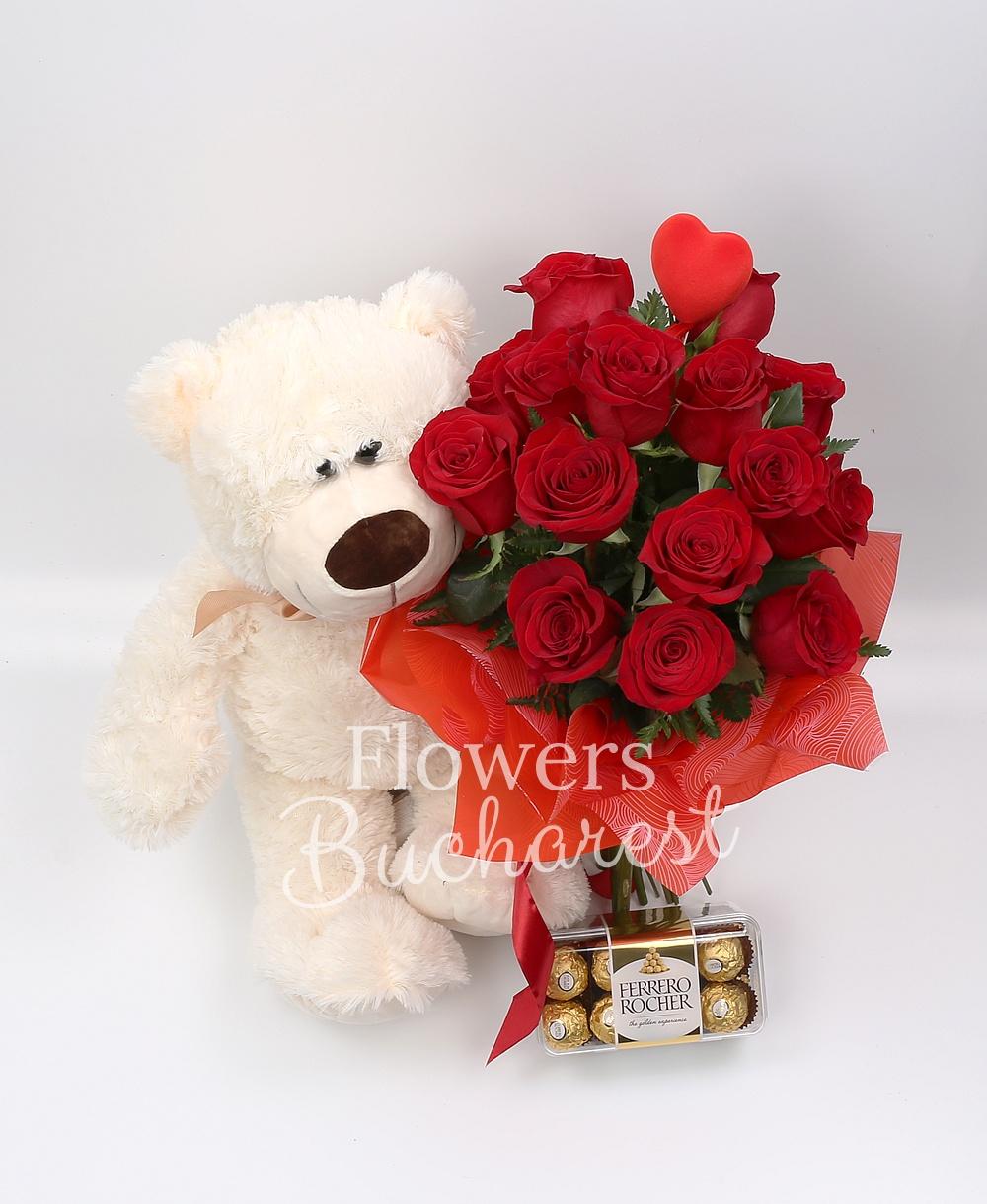 15 roses, big teddy bear, Ferrero Rocher