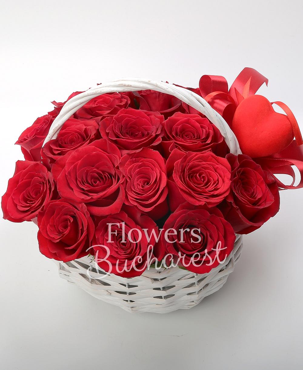 17 roses, basket