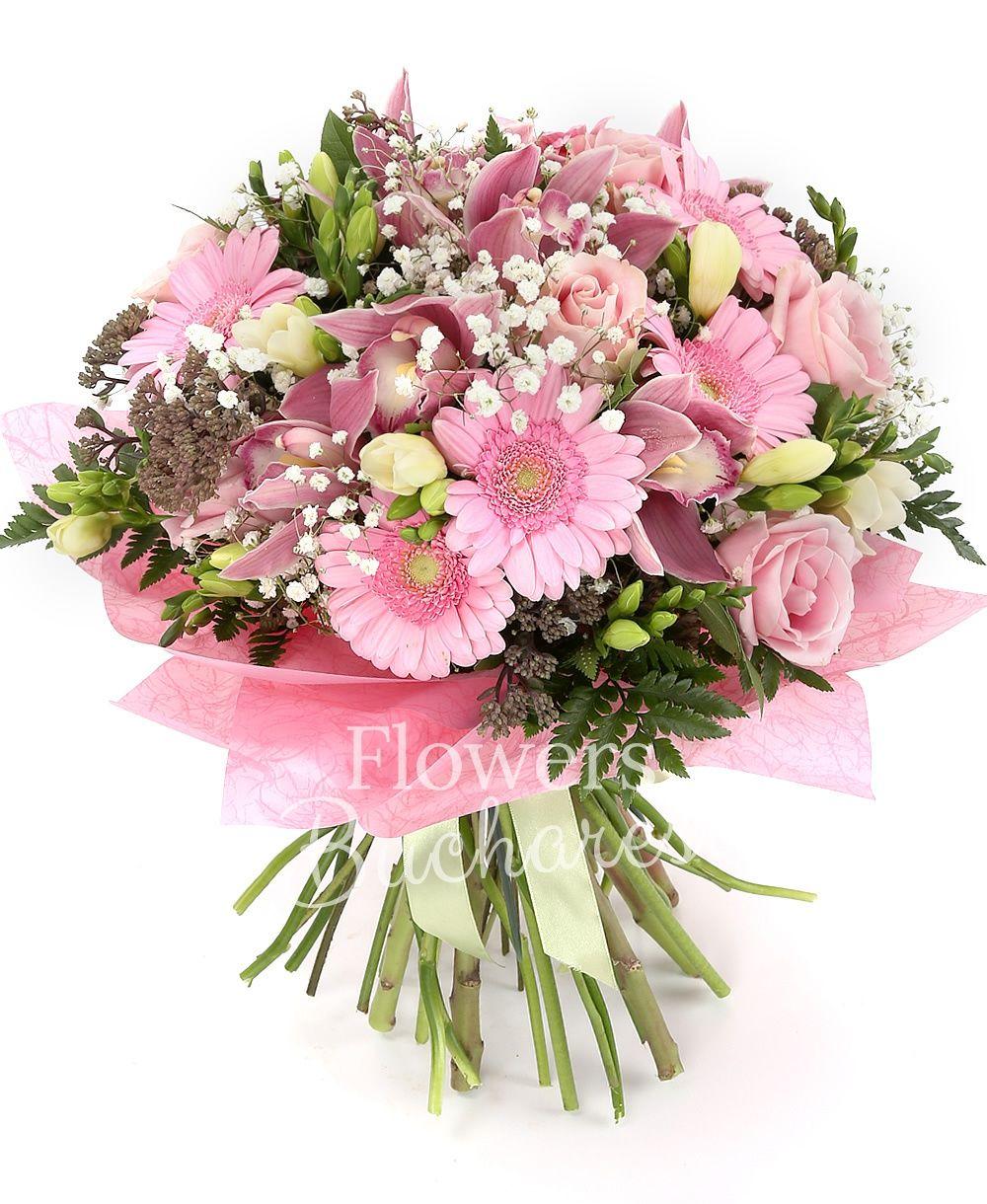 7 pink roses, 5 sedum, 10 white freesias, pink cymbidium, 5 gerbera, greenery