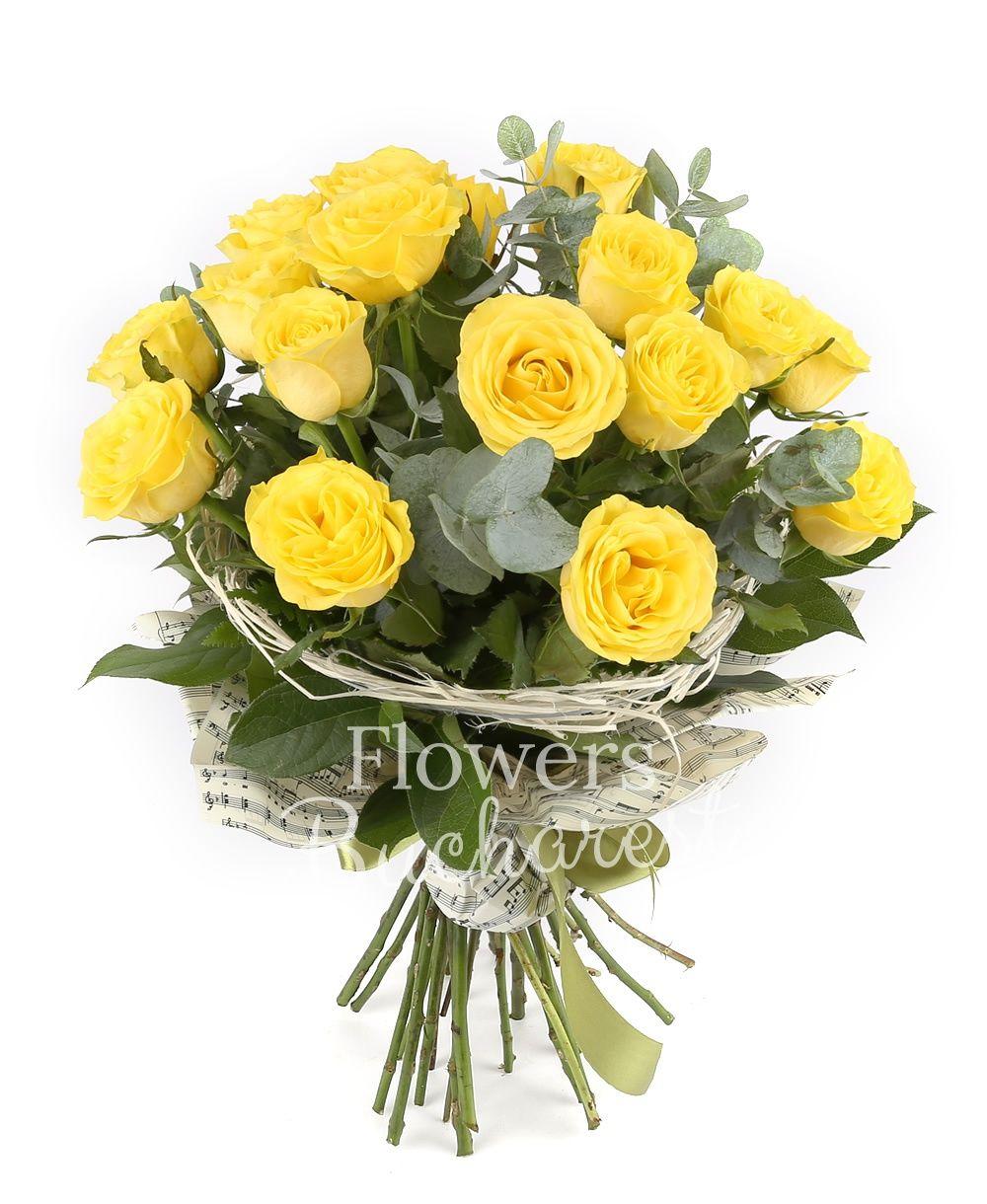 17 yellow roses, greenery