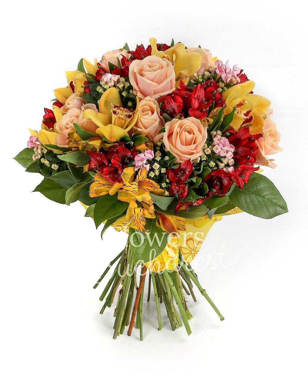 7 cream roses, 6 red alstroemeria, 5 orange alstroemeria, 5 pink bouvardia, green cymbidium, greenery