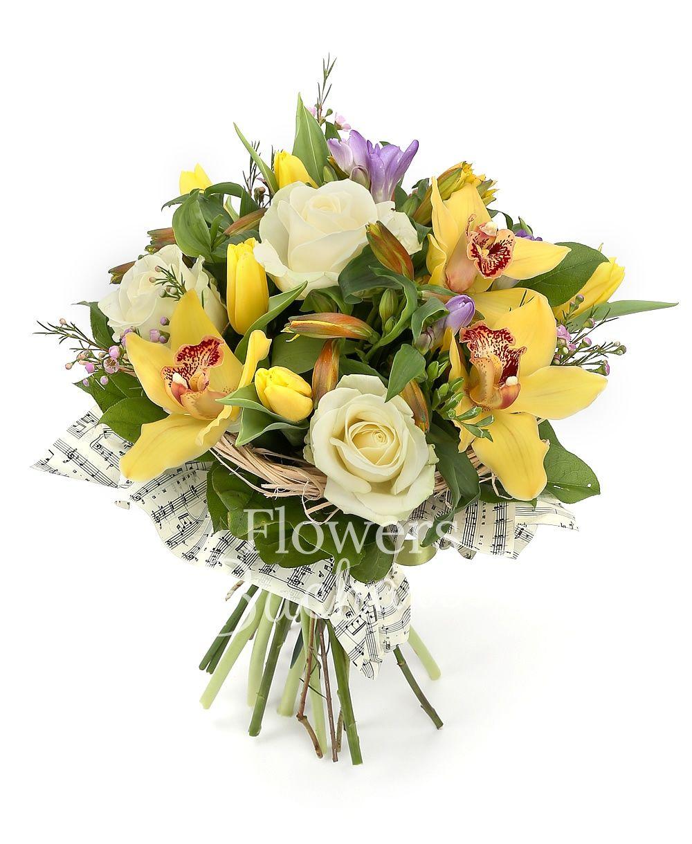 3 white roses, 5 yellow alstroemerias, 5 purple freesias, 5 yellow tulips, greenery