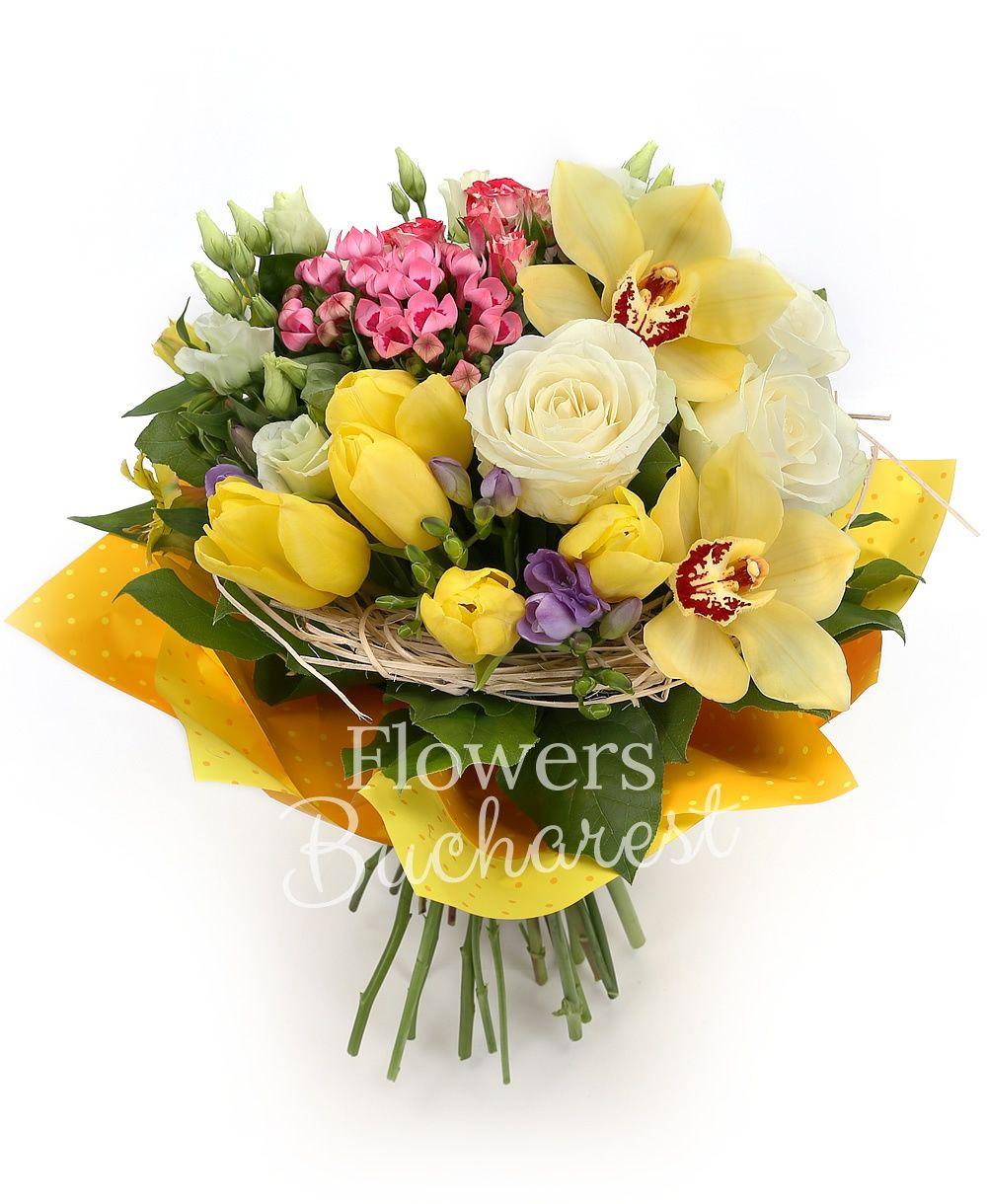 3 white roses, 3 bouvardia, 5 white lisianthus, 3 alstroemeria, 5 purple freesias, 3 pink miniroses, 5 yellow tulips, greenery