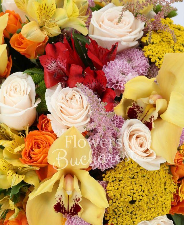9 trandafiri crem, 5 miniroze portocalii, 5 miniroze galbene, 5 alstroemeria galbenă, 5 alstroemeria roșie, 5 leucospermum, 3 santini roz, 3 santini verde, 7 astilbe roz, 5 floare de orez galbenă, cymbidium galben