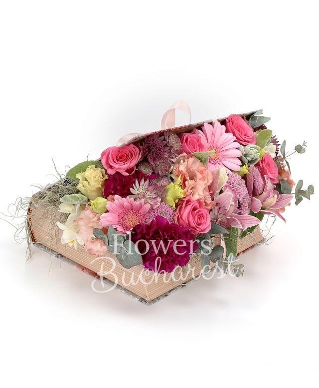 4 trandafiri cyclam, 2 gerbera roz, 4 frezii albe, 2 garoafe cyclam, 2 santini roz, 2 lisianthus roz, cymbidium roz, astranția, eucalypt, tillandsia, carte