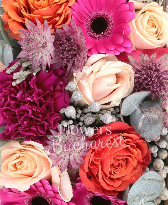5 trandafiri crem, 4 trandafiri portocalii, 5 gerbera cyclam, 4 garoafe cyclam, brunia, astranția grena, eucalypt, tillandsia, carte