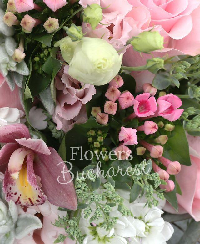 4 trandafiri roz, 4 trandafiri crem, 4 mathiolla alba, 2 lisianthus roz, cymbidium grena, 4 bouvardia roz, eucalypt