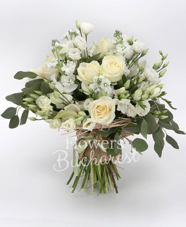 9 trandafiri albi, 5 cale albe, 5 mathiolla alba, 5 lisianthus alb, 10 frezii albe, 10 lalele albe, eucalypt, cuib