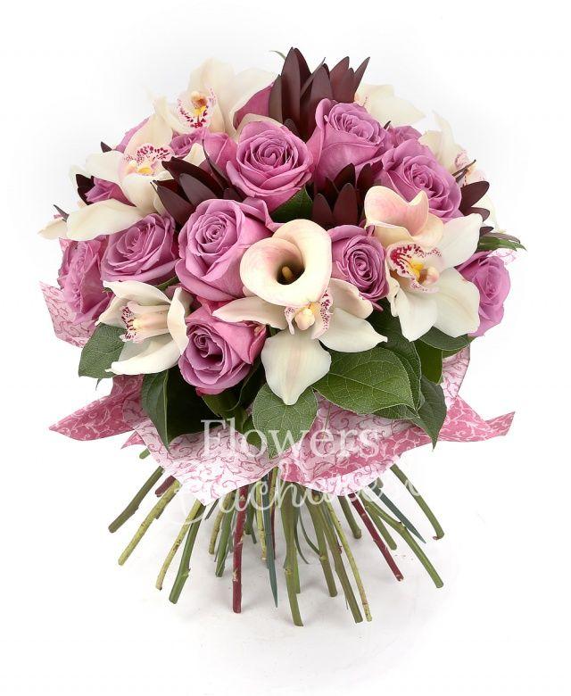 15 trandafiri mov, 5 leucadendron, 3 cale roz, cymbidium alb, salal