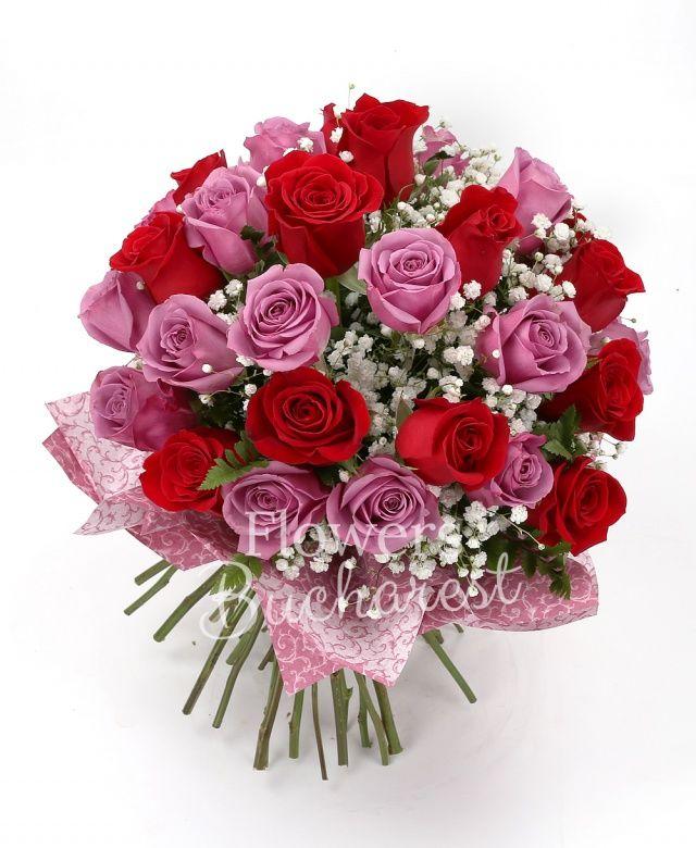 13 trandafiri rosii, 16 trandafiri roz, gypsophilla