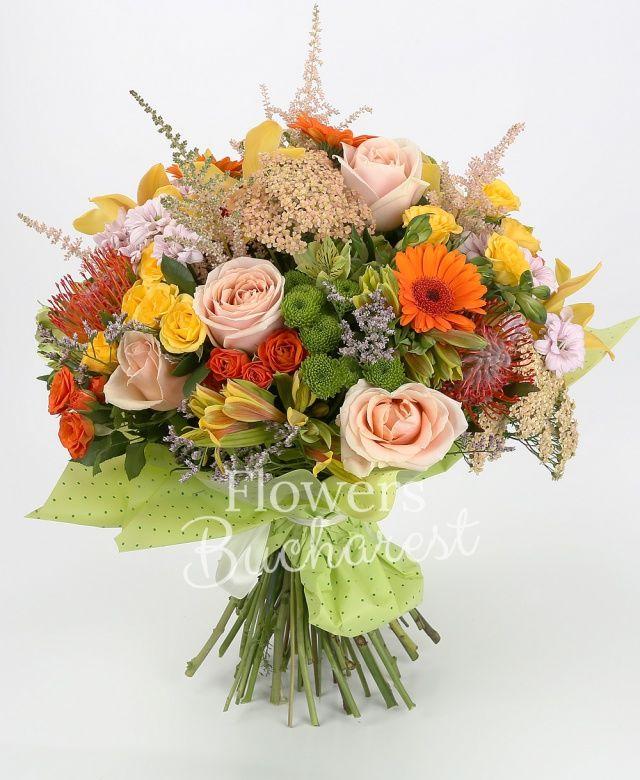 5 trandafiri crem, 3 gerbera portocalie, 3 leucospermum, 5 miniroze portocalii, 5 miniroze galbene, 3 crizanteme roz, 3 santini verde, 5 alstroemeria galbenă, cymbidium galben, 5 astilbe roz, 5 floare de orez