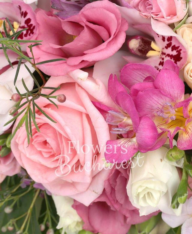 3 trandafiri roz, 3 miniroze roz, 3 garoafe crem, 5 frezii cyclam, 2 alstroemeria mov, cymbidium alb, 2 lisianthus roz, waxflower roz, salal, carte