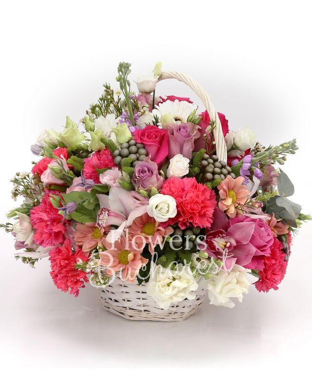 2 trandafiri cyclam, 2 trandafiri mov, 2 trandafiri roz, 2 gerbera alba, 4 garoafe cyclam, 2 lisianthus alb, 2 mathiolla mov, cymbidium roz, cymbidium alb, brunia, 2 crizanteme roz, eucalypt, waxflower, coș
