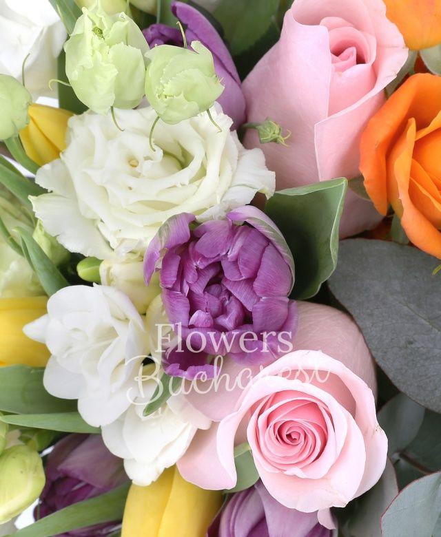 3 trandafiri roz, 2 miniroze portocalii, 10 frezii albe, 10 lalele mov, 10 lalele galbene, 3 lisianthus alb, waxflower roz, eucalypt