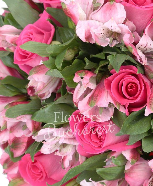 11 trandafiri cyclam, 15 alstroemeria roz