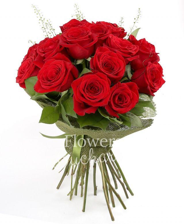 17 trandafiri rosii, salal, cuib