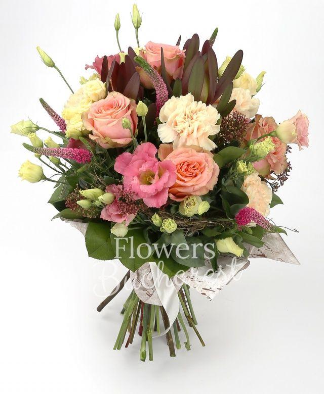5 trandafiri portocalii, 3 lisianthus roz, 5 garoafe crem, 5 veronica rosii, 3 leucadendron, 3 schimia, salal, cuib
