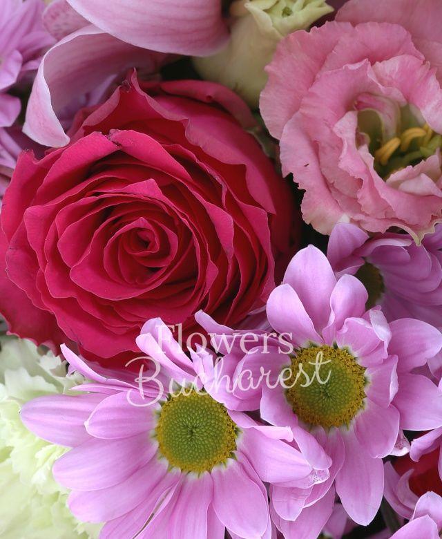 5 trandafiri cyclam, 4 crizanteme margarete roz, 2 anthurium verde, 5 lisianthus roz, 5 garoafe roz, 4 miniroze cyclam, cymbidium roz, salal