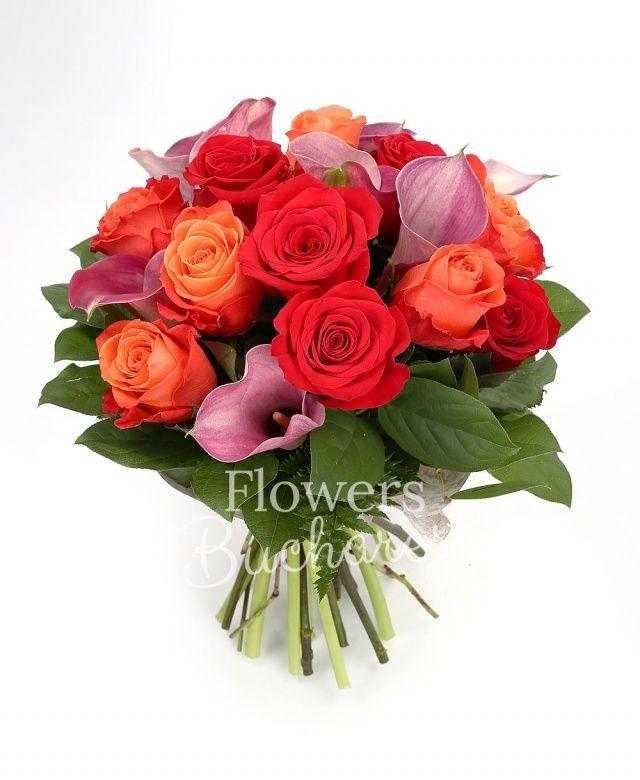 6 trandafiri portocalii, 7 trandafiri rosii, 9 cale roz, salal