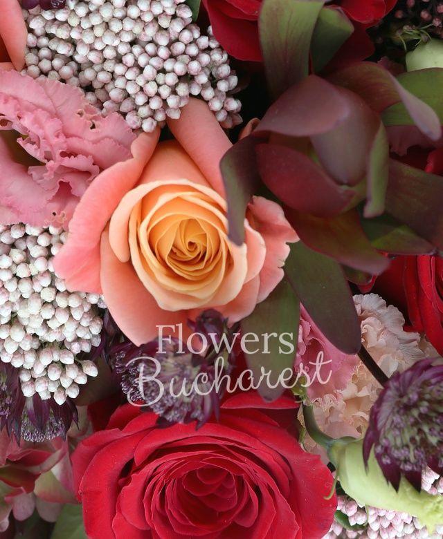 3 hortensii, 6 trandafiri rosii, 4 trandafiri banan, 4 floare de orez, 4 leucadendron, 4 lisianthus crem, 7 brunia, 7 astranția, 1 anthurium grena, 4 black tide