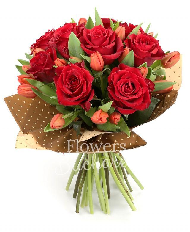 9 trandafiri rosii, 20 lalele rosii, salal