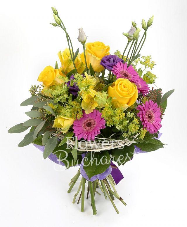 3 trandafiri galbeni, 5 gerbera cyclam, 3 alstroemeria galbenă, 3 lisianthus mov, bupleurum, eucalypt, salal, cuib