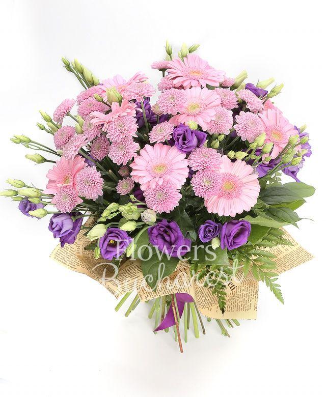 9 gerbera, 9 lisianthus mov, 7 santini roz, salal