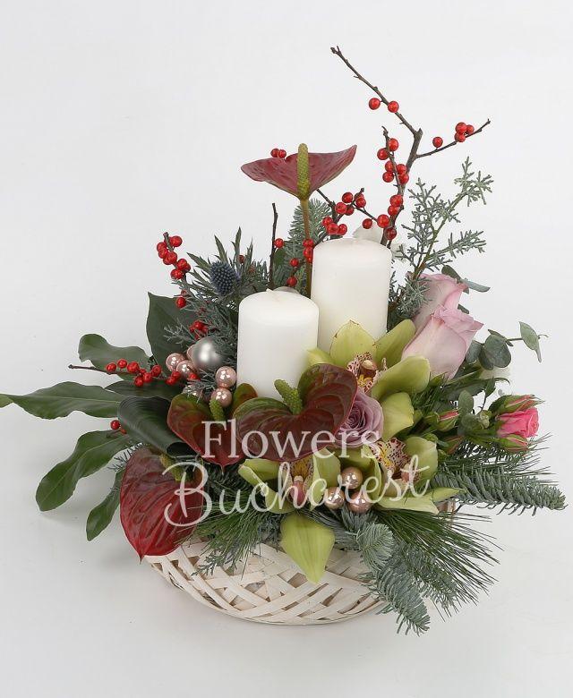 2 lumânări groase, 4 anthurium, 3 trandafiri mov, 1 miniroza roz, 1 cymbidium verde, 1 eryngium, 1 lisianthus alb, ilex, globuri, aspidistra, fasia, brad, coș răchita rotund