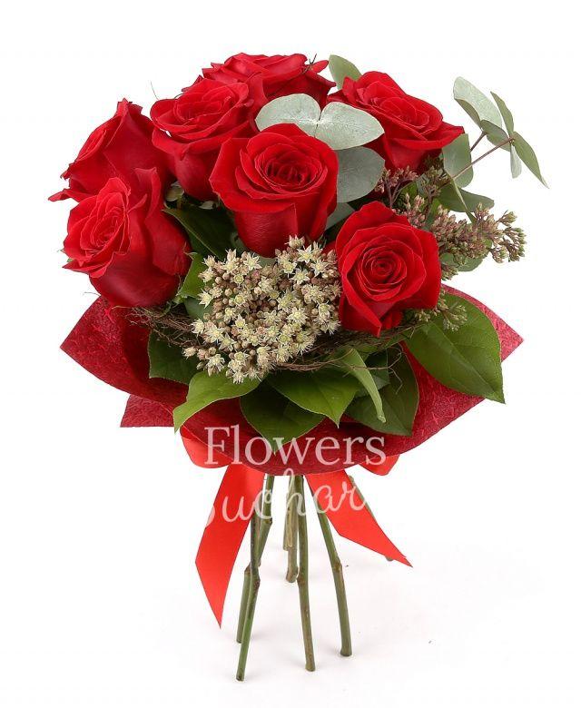 7 trandafiri rosii, kalanchoe, eucalypt, salal, cuib