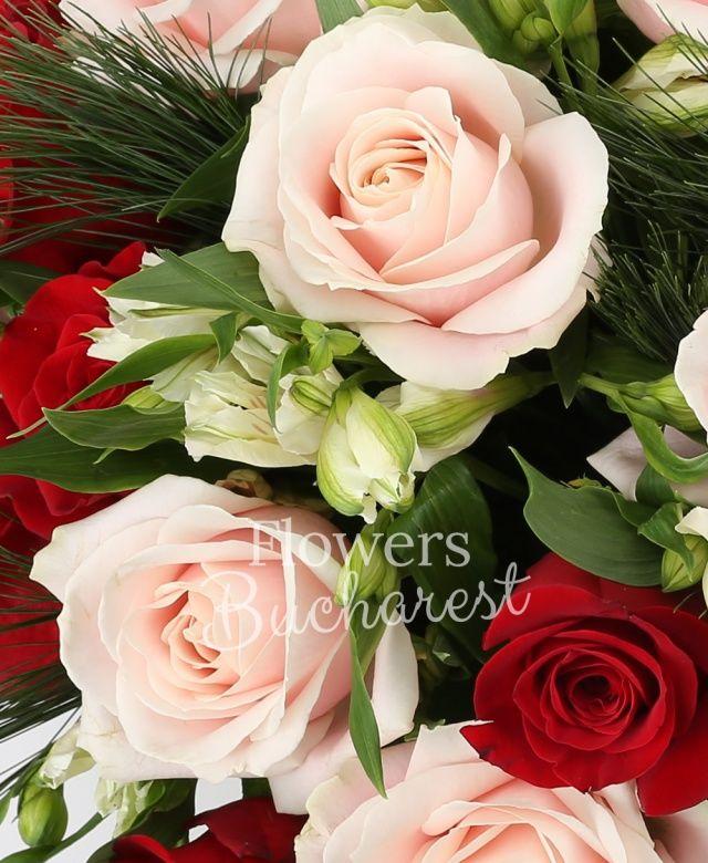 11 trandafiri rosii, 10 trandafiri roz, 6 alstroemeria alba, pin, salal, coș