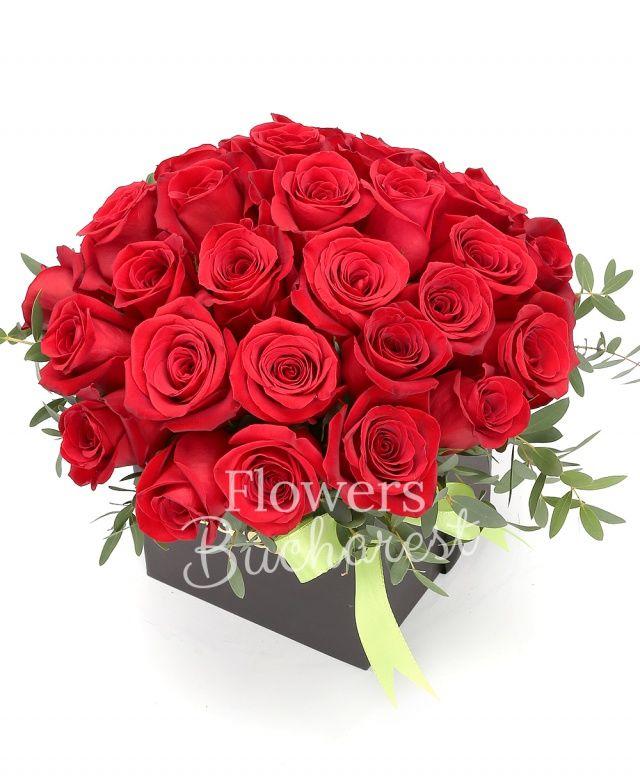 37 trandafiri rosii, eucalypt, cutie pătrată