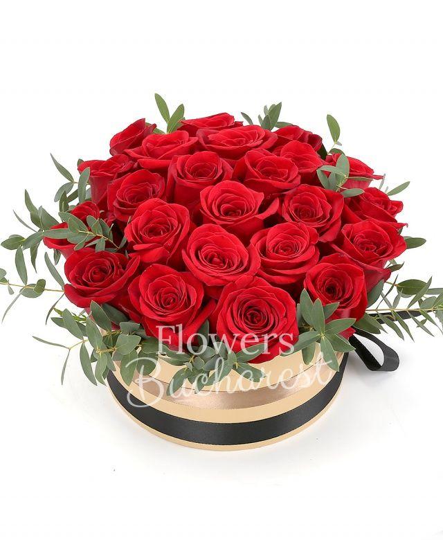21 trandafiri rosii, eucalypt