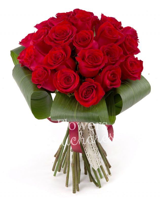 25 trandafiri rosii, aspidistra