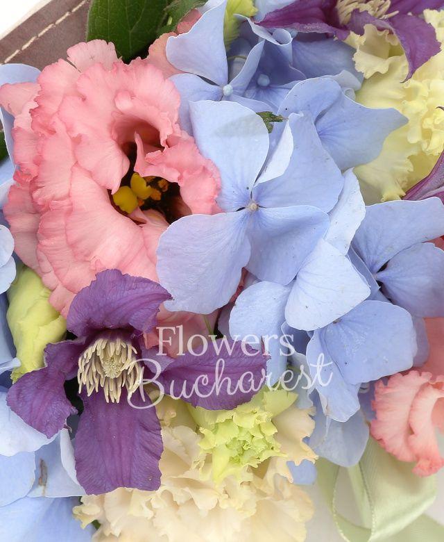 1 hortensia albastră, 2 lisianthus roz, 3 clematis, cutie
